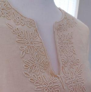 SALE! Lands End Long Sleeve Beaded Linen Tunic Top